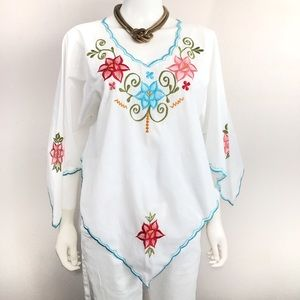 Tops - NWOT Handmade Mexican Embroidered Floral Boho Top
